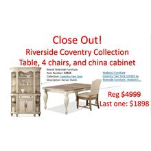 Riverside Coventry China cabinet,6 wooden chairs & 2 upholstery chairs available at close out specials:Table(sold)