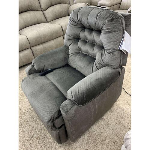 Stanton Power Recliner in Pearson Cement . 100% Polyester . CC:  S