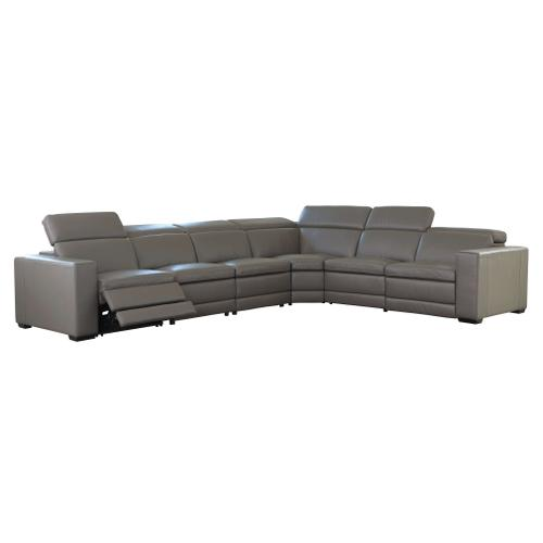 Texline - Gray  2 Power Recliner Leather Sectional