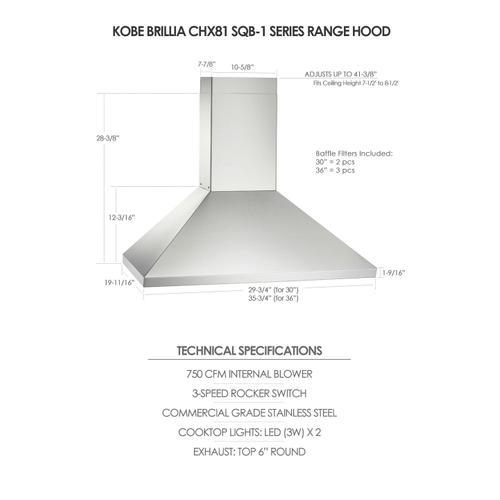 """Kobe - 36"""" Wall Mount - Brillia CHX81 SQB-1 Series"""