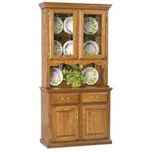 "40"" Hutch w/ 2 Half Doors V-Groove Glass, Touch Light, Full Mirror Back, Felt Lined Drawers"