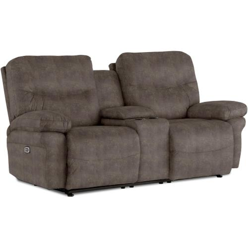 Best Home Furnishings - LEYA Power Reclining Loveseat with Console and Power Headrest in Elk Fabric