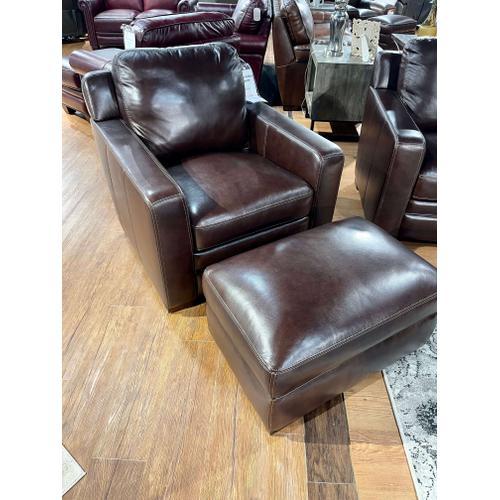Simon Li Furniture - Amarillo Walnut Leather Chair & Ottoman