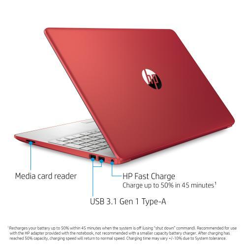 "HP - HP 15DW0083WM Red/Silver 15.6"" Pentium N5000 Processor,  4GB, 128GB Laptop"