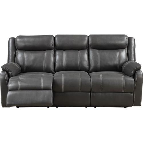 Klaussner - DOMINO Casual reclining sofa with drop-down table- Valor Carbon