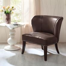 See Details - ARMLESS ACCENT CHAIR - BROWN