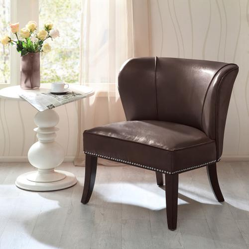 Ollix - ARMLESS ACCENT CHAIR - BROWN