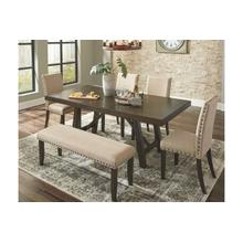 Rokane Beige Dining Room Table, 4 Chairs & Bench