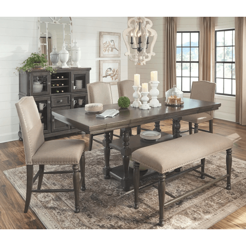 Audberry - Dark Gray - 6 Pc. - Rectangular Counter Extension Table, 4 Upholstered Barstools & Double Bench