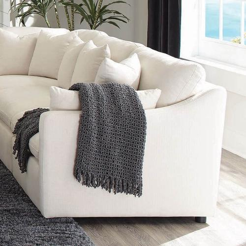 Off White Polyester 5 Piece Sectional