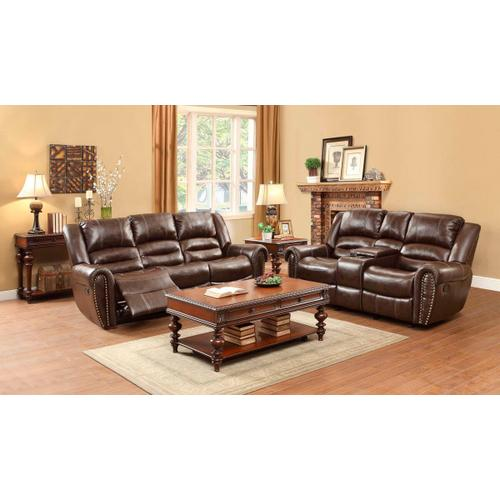 Center Hill- Brown Reclining Sofa and Loveseat