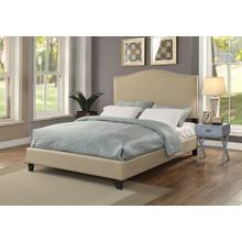 Queen Brown Upholstered bed with Nail Heads