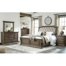 Wyndahl  Rustic Brown - 7 Pc. - Dresser, Mirror, Chest, Nightstand & King Upholstered Panel Bed