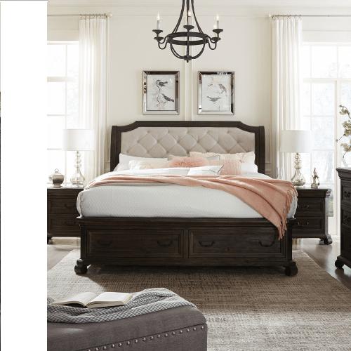 King Storage Bed, Dresser, Mirror, Door Chest and 2 Nightstands