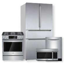 See Details - 800 Series French Door Bottom Mount Refrigerator w/ Pocket Handles & Dual Fuel Slide-in Range Package