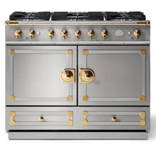 Stainless Steel Cornufe 110 with Polished Brass Accents