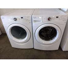 Refurbished Whirlpool White Front Load Washer Dryer Set. Please call store if you would like additional pictures. This set carries our 6 month warranty, MANUFACTURER WARRANTY AND REBATES ARE NOT VALID (Sold only as a set)