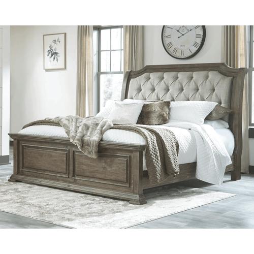 Wyndahl - Brown - King Upholstered Panel Bed