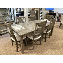 See Details - FARMHOUSE DINING WITH 6 RAKE BACK CHAIRS