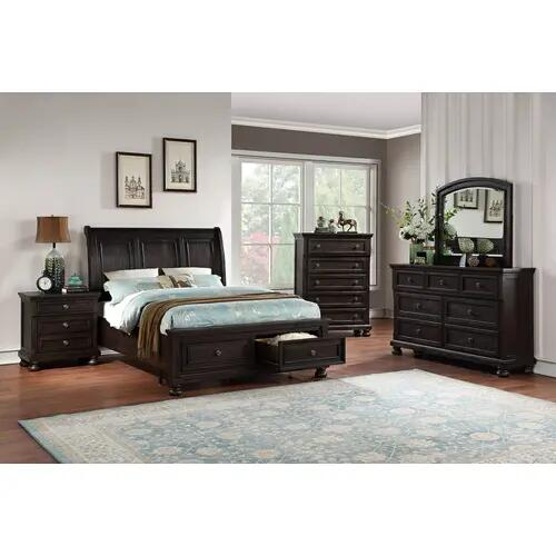Avalon - Queen Storage Bed, Dresser, Mirror, Chest and Nightstand