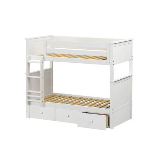 Jackpot Bristol Twin/Twin Bunk   3 Drawer Storage In White Finish