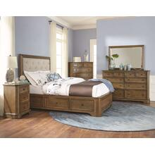 RGB Stonewood Queen Manor Upholstered Storage Bed Rustic Glazed Brown Finish