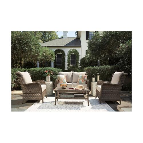 Ashley Furniture - ASHLEY P361-835 P361-820 P361-701 Clear Ridge Outdoor Patio Glider Loveseat, Table And 2 Chairs