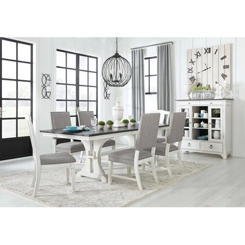Nashbryn  Two-Tone  Rectangular Extension Table, 4 Padded Chairs, and 2 Upholstered Chairs