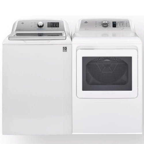 GE 4.8 cu. ft. Capacity Top Load Washer & 7.4 cu. ft. Capacity Aluminized Alloy drum Electric Dryer