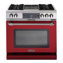 """Connoisseurian 36"""" Dual Fuel Self Clean Range (Ruby Red)"""