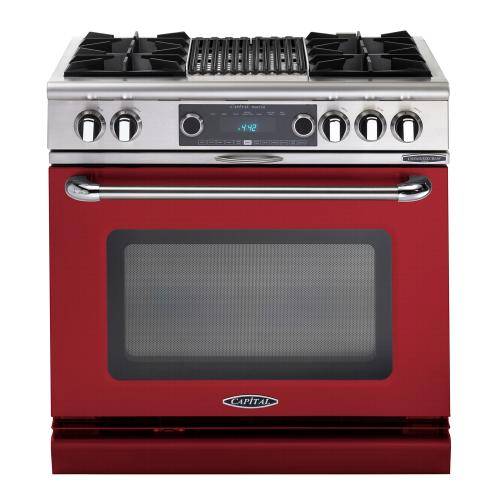 """Capital - Connoisseurian 36"""" Dual Fuel Self Clean Range (Ruby Red)"""