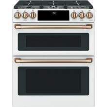 "GE Cafe 30"" 6.7 cu. ft. Matte White Slide-In Double Oven Gas Range with Self-Cleaning and Convection"