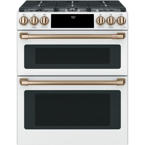 """GE Cafe 30"""" 6.7 cu. ft. Matte White Slide-In Double Oven Gas Range with Self-Cleaning and Convection"""