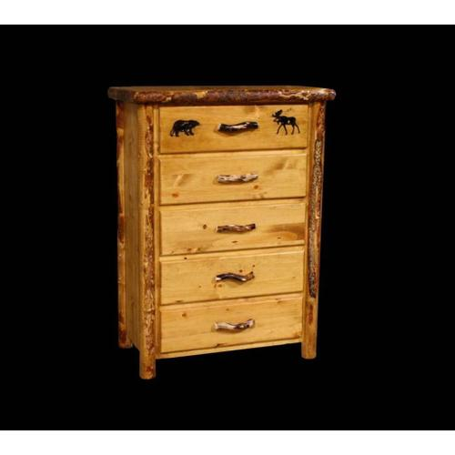 Ponderosa Pine 5 Drawer Chest With Custom Engraving