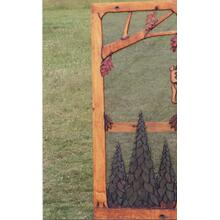 Handmade rustic wooden screen door featuring a forest theme