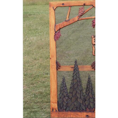 Handmade rustic wooden screen door featuring a forest theme