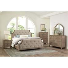 Tuscany Transitional Upholstered Queen Bedroom Set: Queen Bed, Nightstand, Dresser & Mirror