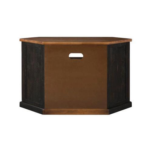 Rustic Corner TV Stand, Antique Black and Honey
