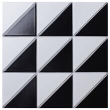 4 Forest Pattern Black White Matte Porcelain Geometric Tile
