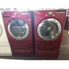 Refurbished Red LG Front Load Washer Dryer Set On Pedestals Please call store if you would like additional pictures. This set carries our 6 month warranty, MANUFACTURER WARRANTY AND REBATES ARE NOT VALID (Sold only as a set)