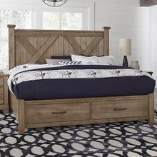 Queen Cool Rustic Stone X Bed with Footboard Storage