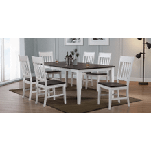 A 5 piece, table and 4 chairs, two tone hardwood dining set