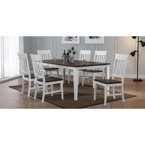 Gallery - A 5 piece, table and 4 chairs, two tone hardwood dining set