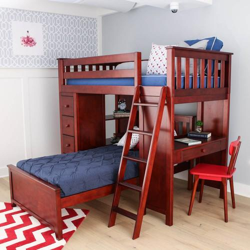 Jackpot Kensington All in One Loft Bed Storage Study Twin Bed In Cherry Finish