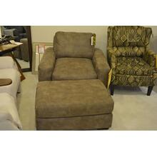 England brown low back chair w/ottoman.
