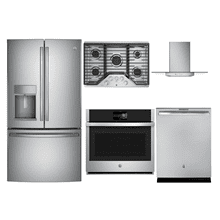 GE PROFILE 5-PIECE APPLIANCE PACKAGE W/ GAS COOKTOP (STAINLESS STEEL)