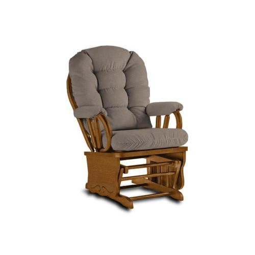 BEDAZZLE Glider Rocker in Stone Fabric and Golden Pecan Finish