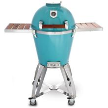 """See Details - 22"""" Caliber Pro Kamado Grill/Smoker (Powdercoated Turquoise with Hardwood Cherry Handle)"""