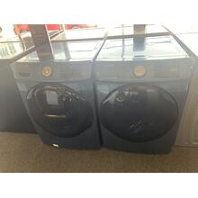 Refurbished Blue Samsung STEAM Front Load Washer Dryer Set. Please call store if you would like additional pictures. This set carries our 6 month warranty, MANUFACTURER WARRANTY AND REBATES ARE NOT VALID (Sold only as a set)