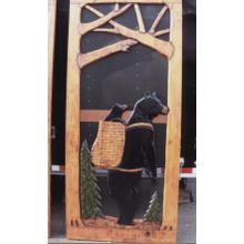 Handmade rustic wooden screen door featuring a bear carrying a cub.